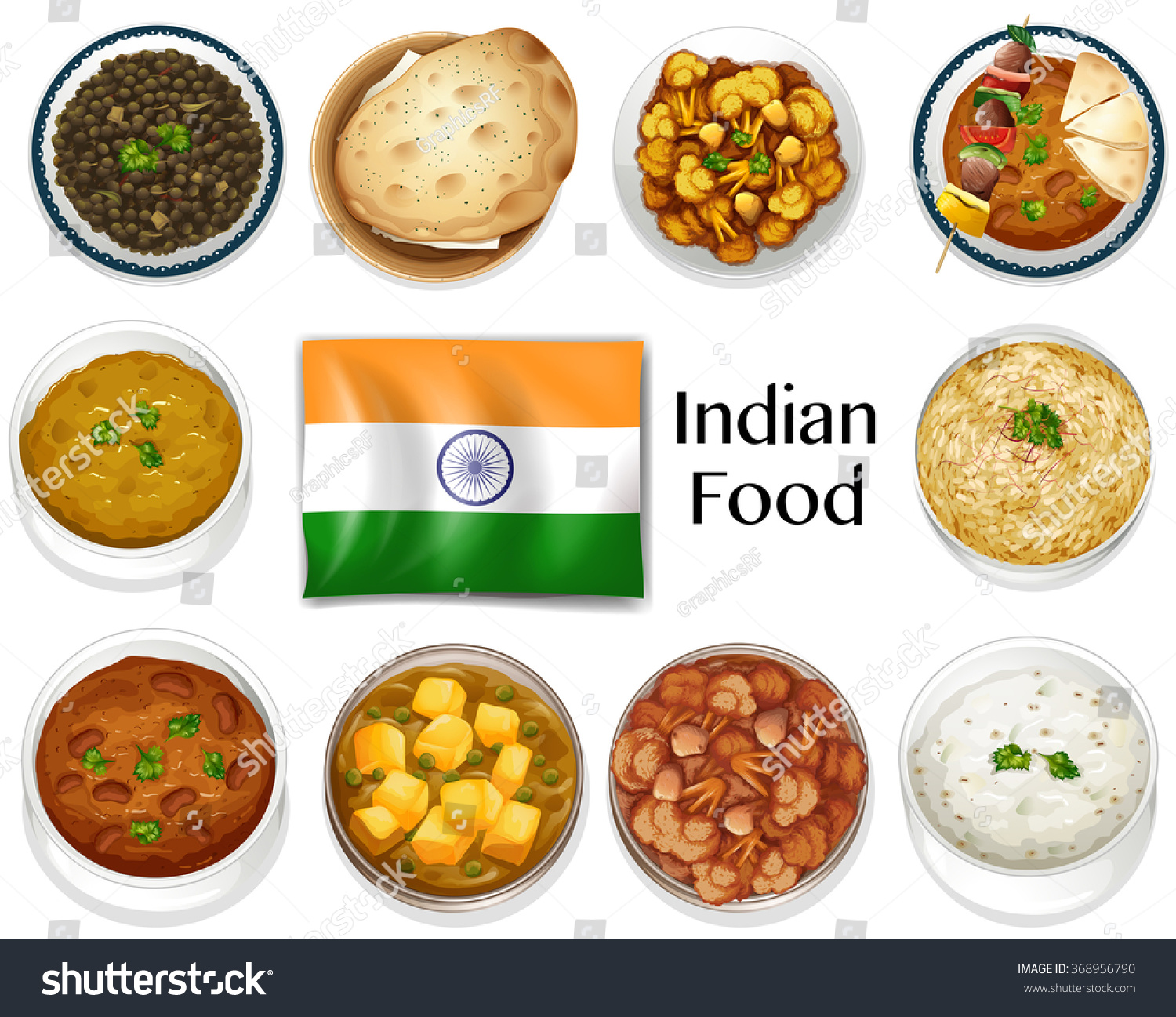Different dish indian food illustration stock vector 368956790 shutterstock - Different indian cuisines ...