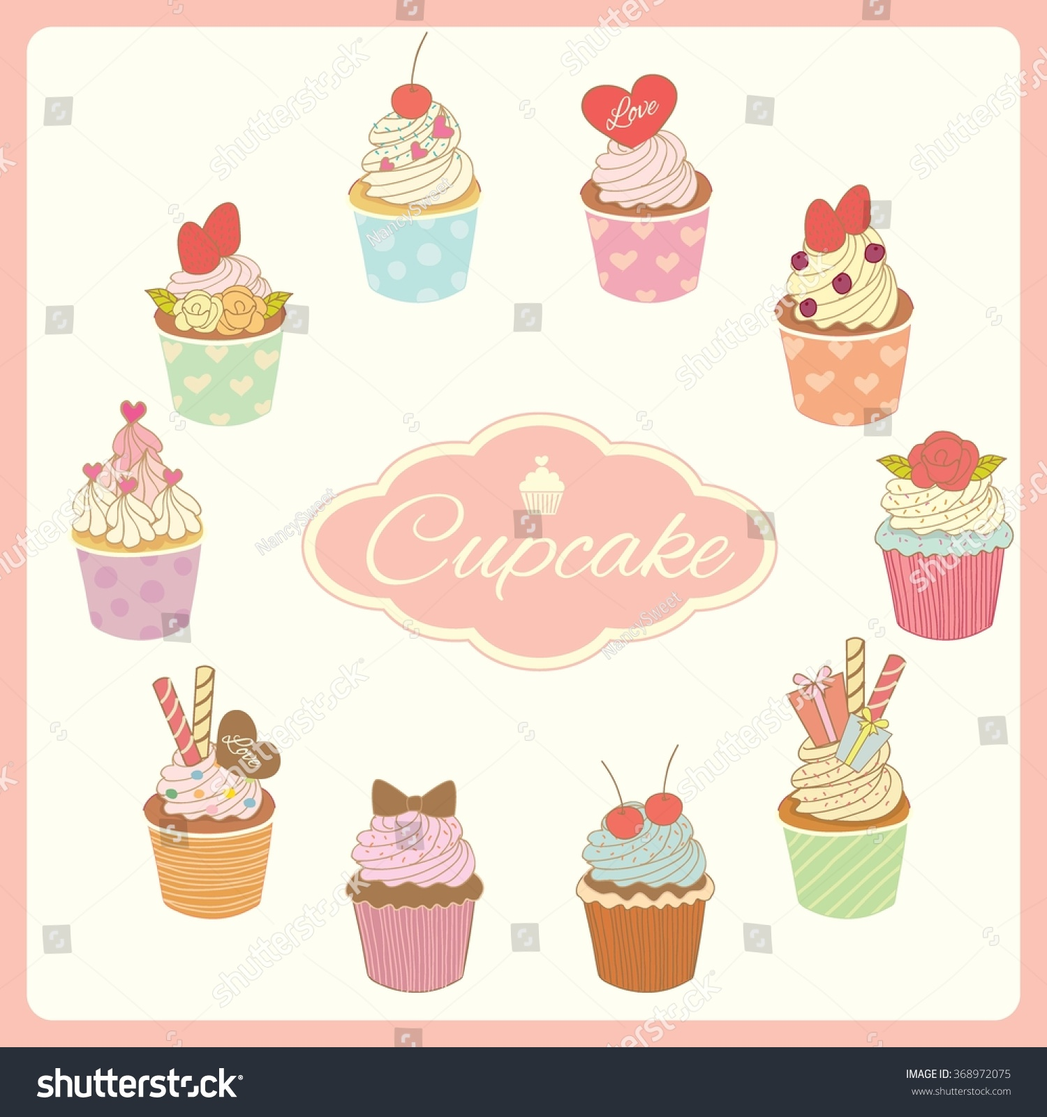 vector drawing bakery cafe cupcakes decoration stock vector