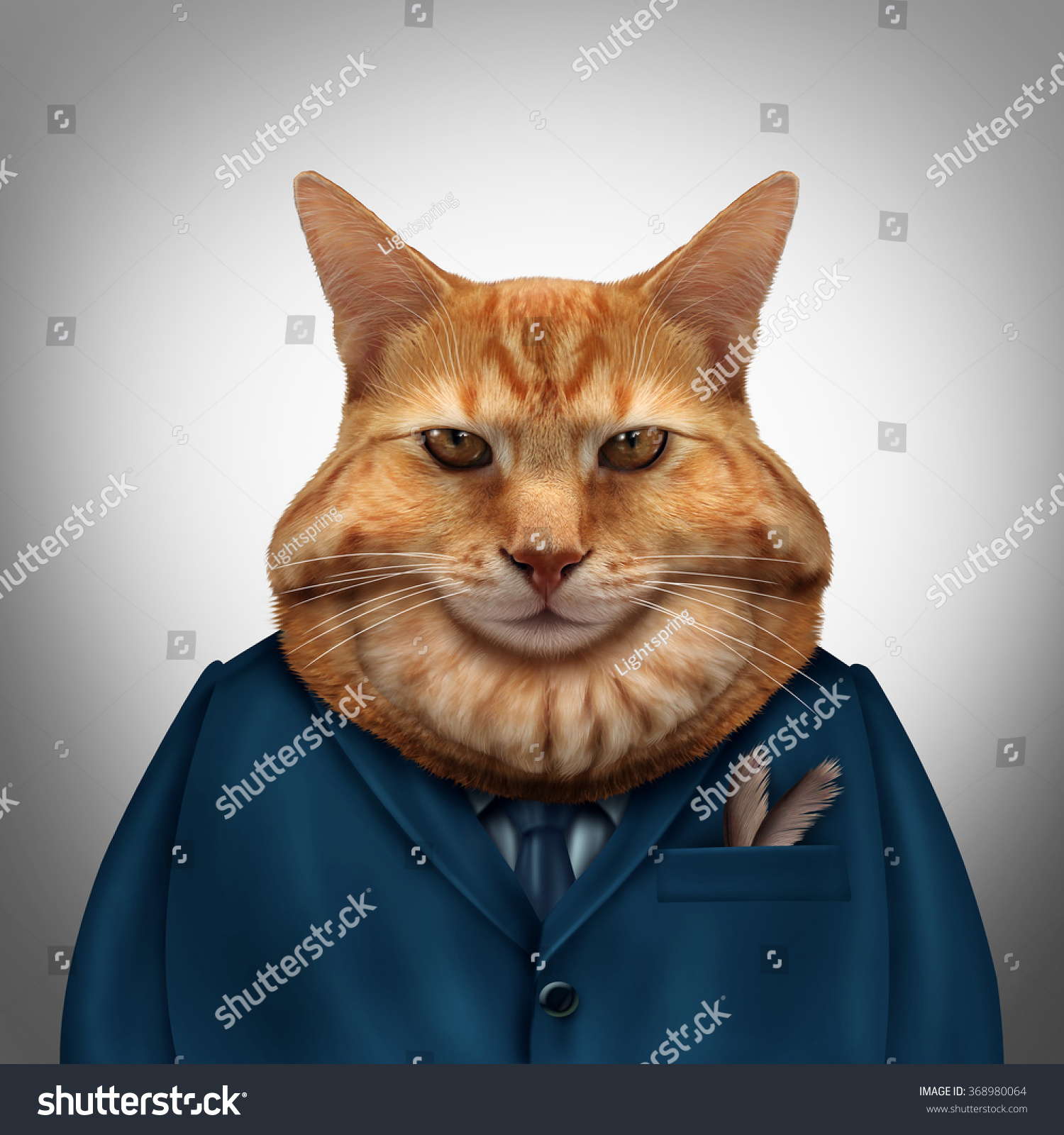 Business Fat Cat Character Feline Tycoon Stock Illustration