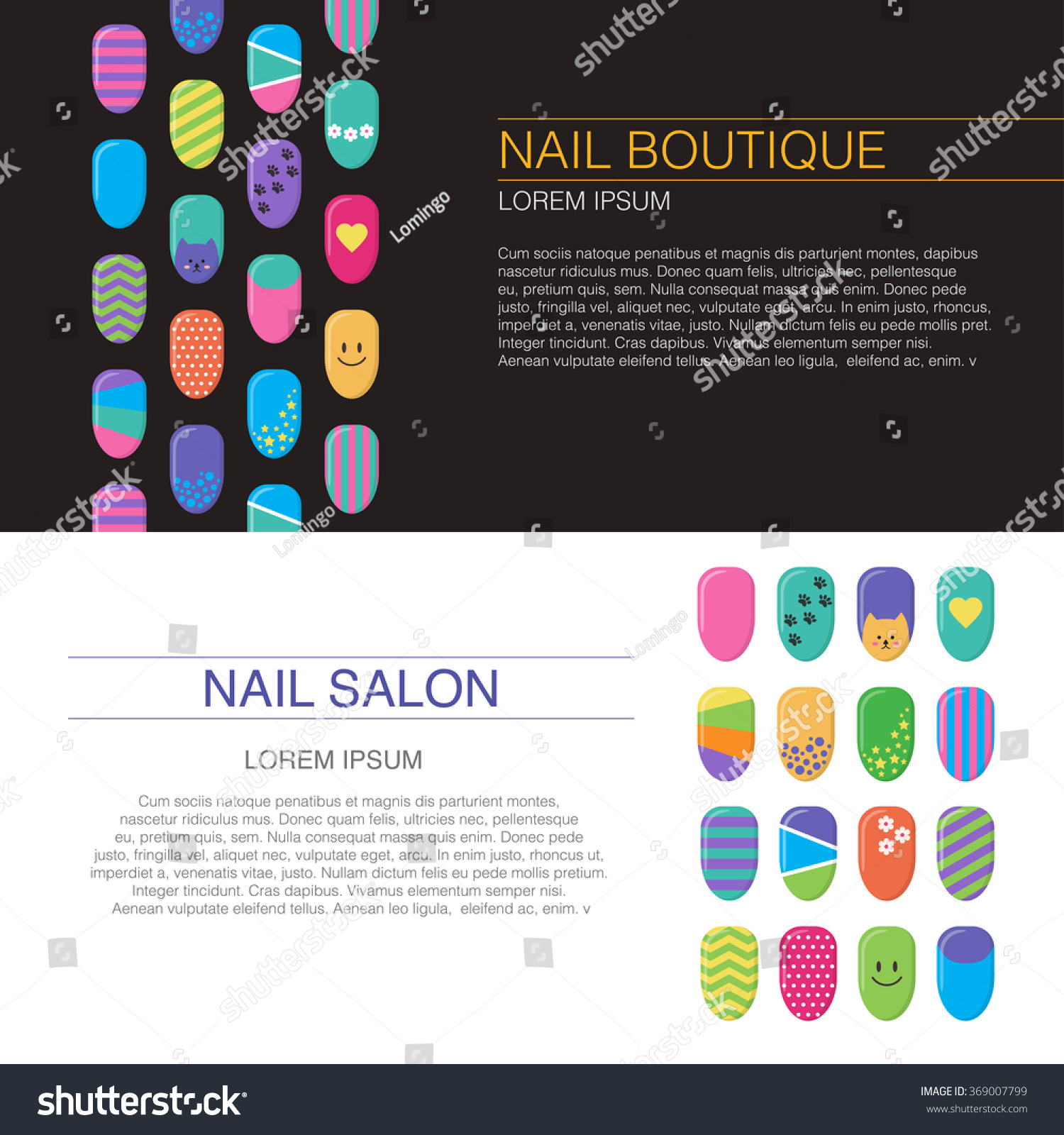 Business card templates nails art templates stock vector 369007799 business card templates nails art templates vector layout with colorful nails magicingreecefo Image collections