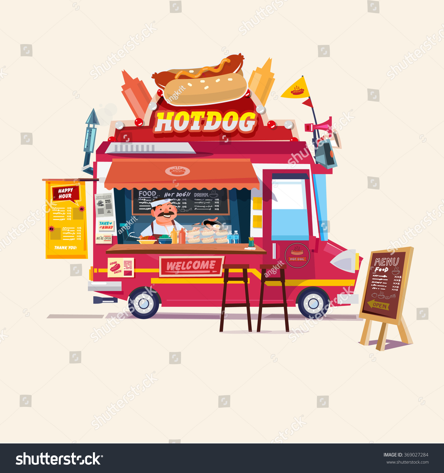hot dog food truck street food truck concept with merchant character design vector. Black Bedroom Furniture Sets. Home Design Ideas