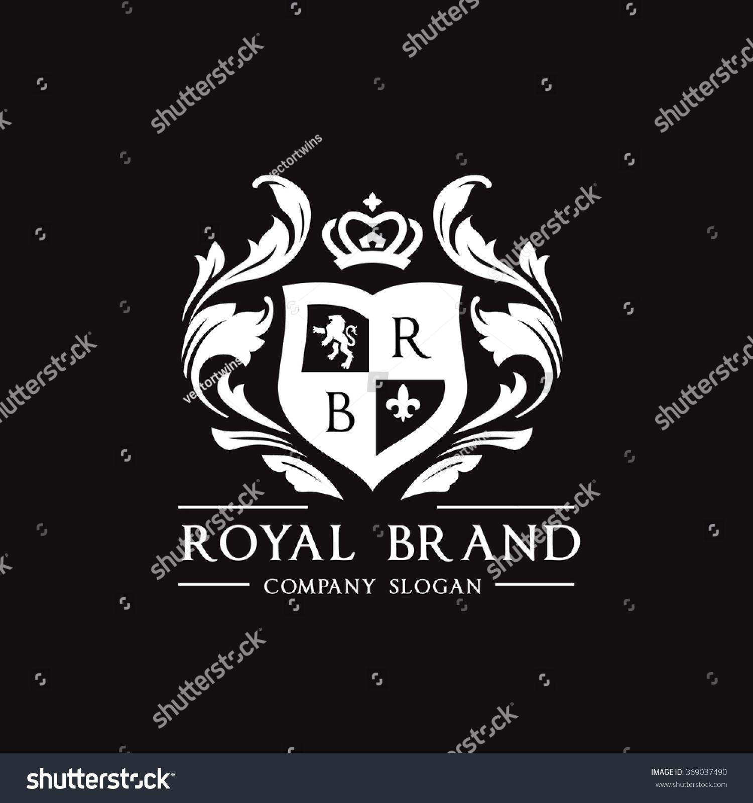 royal brand logocrown logolion logocrest logovector stock vector 369037490 shutterstock. Black Bedroom Furniture Sets. Home Design Ideas