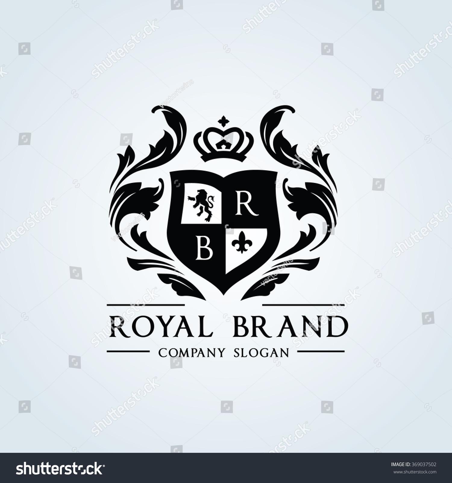 royal brand logocrown logolion logocrest logovector stock vector 369037502 shutterstock. Black Bedroom Furniture Sets. Home Design Ideas