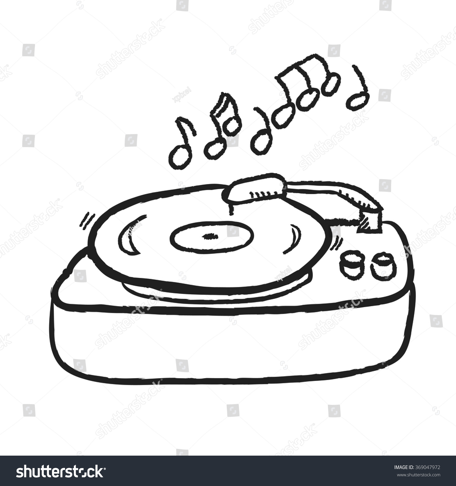 Doodle Turntable Record Player Lp Gramophone Stock Vector