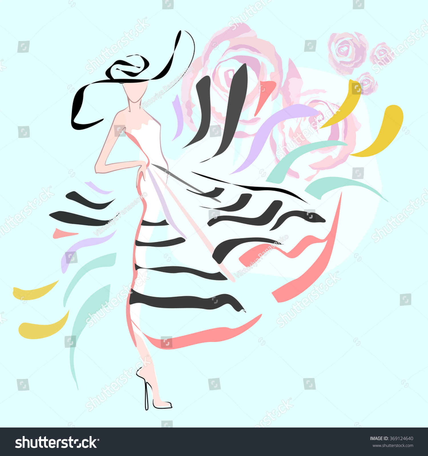 Abstract Sketch Of A Model (Girl) In A Striped Dress And A Hat Decorated With Roses Fashion ...