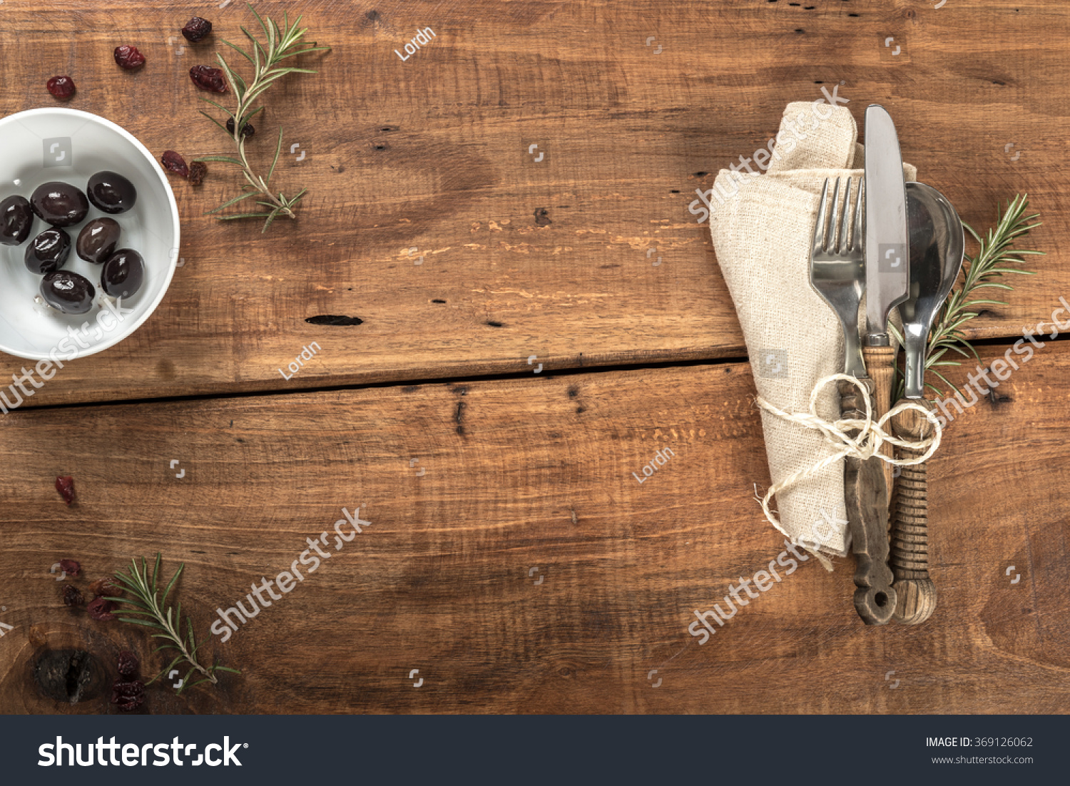 Rustic Old Wooden Mediterranean Table Setup With Copy Space