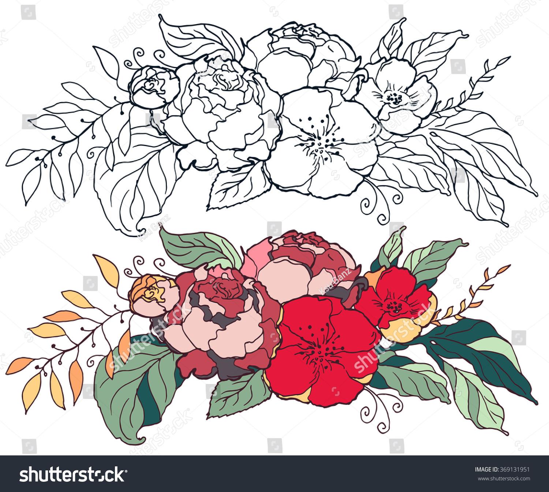 Border Postcard Template Design Flowers Beautiful Stock Vector ...
