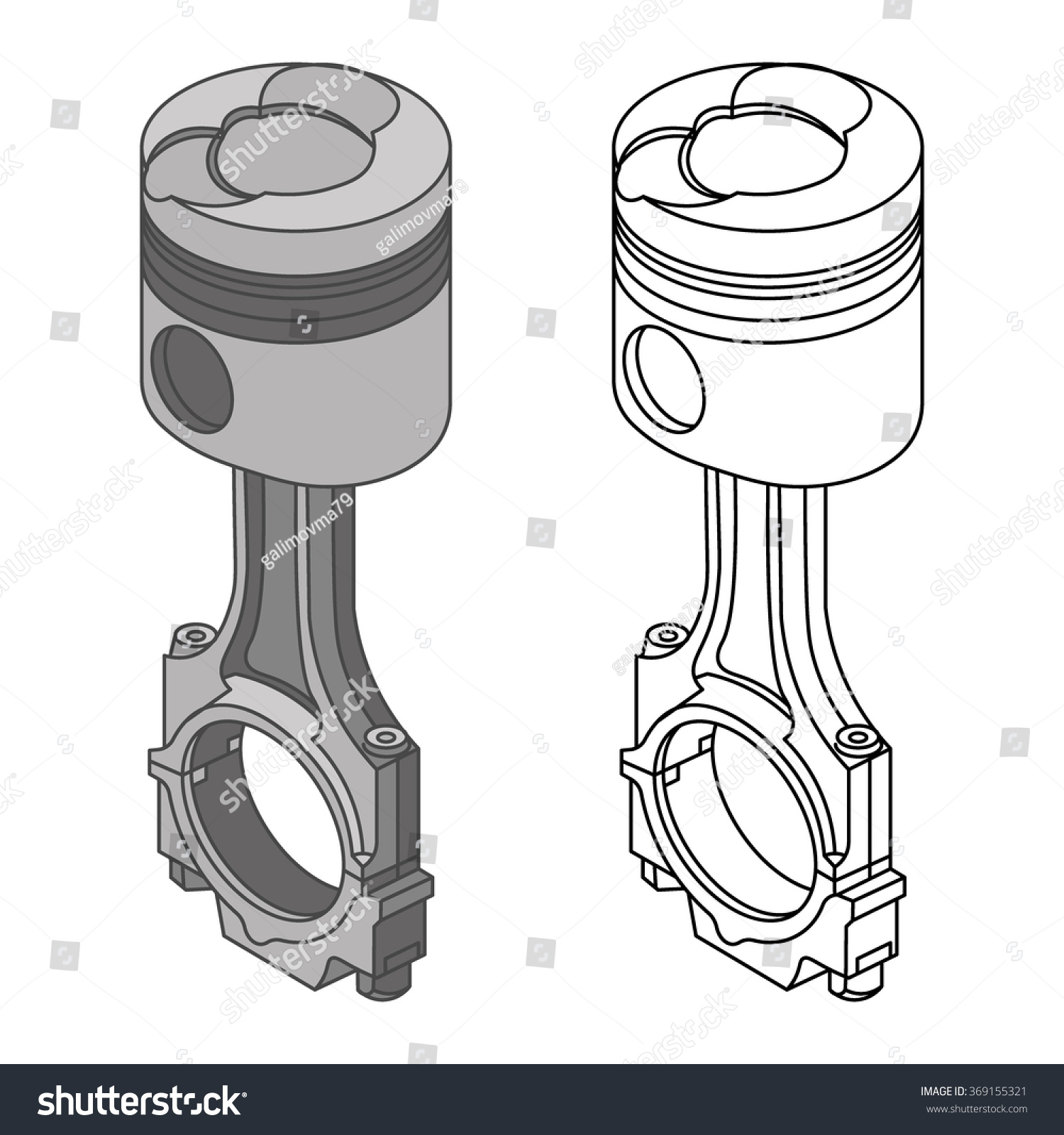 car piston drawing