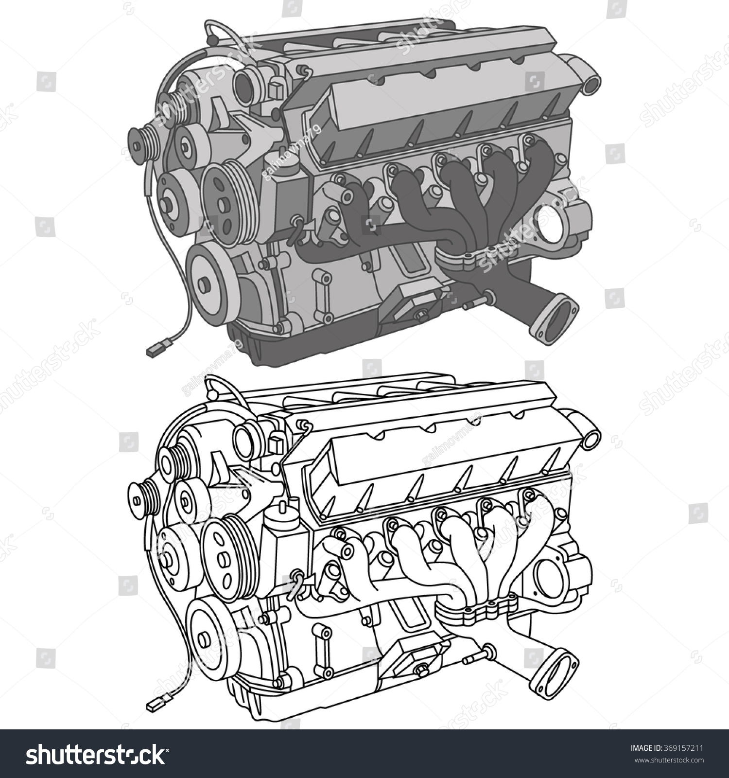 Car Engine Icons Isometric Vector Stock Vector 369157211 - Shutterstock