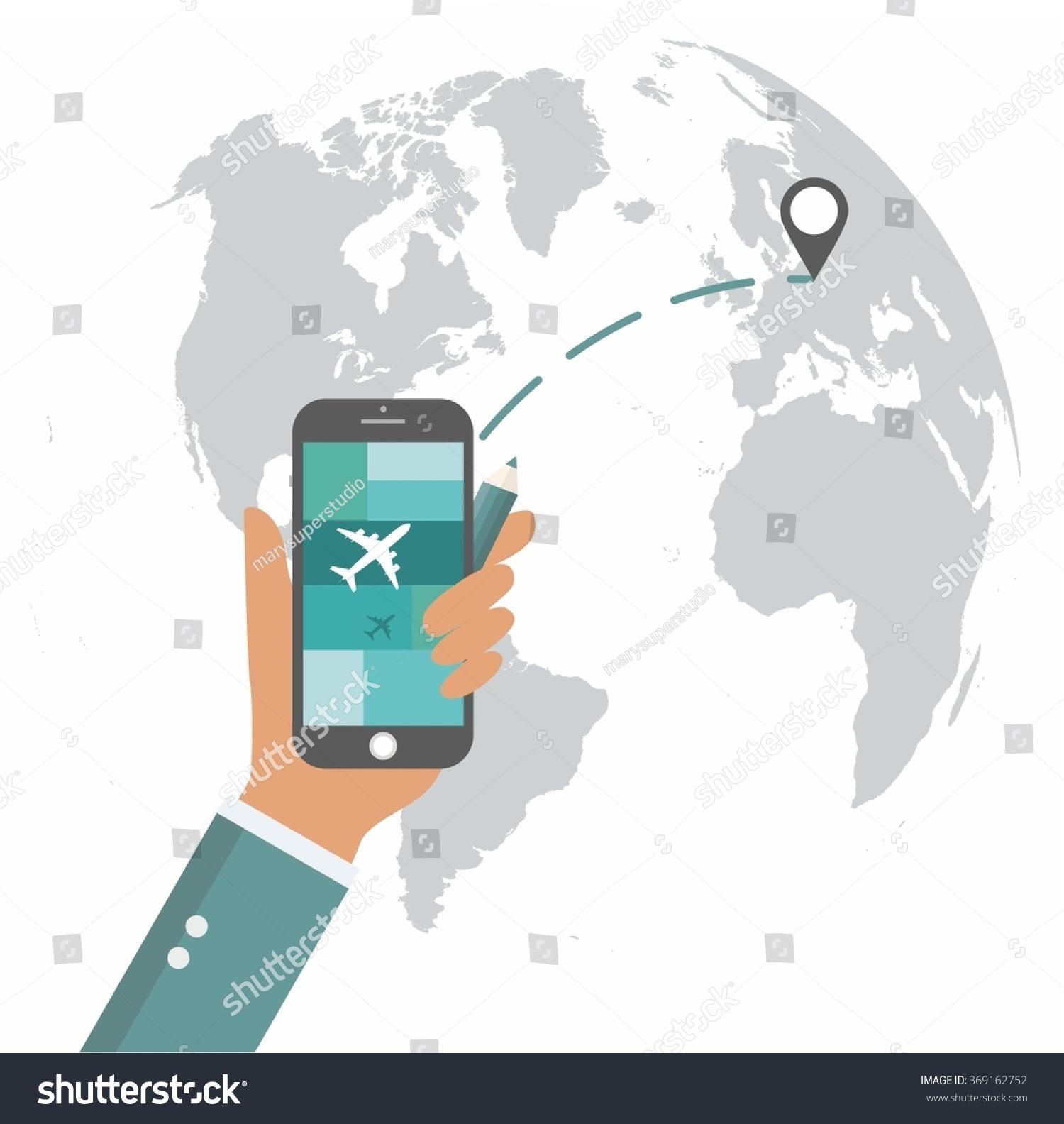 Flat design travel app mobile ui vectores en stock 369162752 flat design travel app mobile ui mock up on trendy world map background gumiabroncs Choice Image