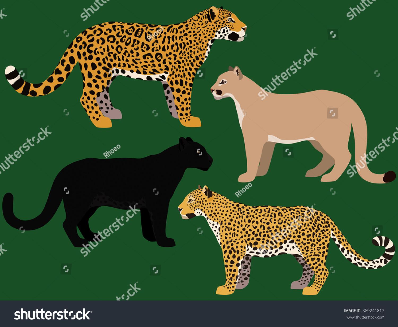 Cartoon Big Cats Vector Set Illustration Vector de stock369241817 ...