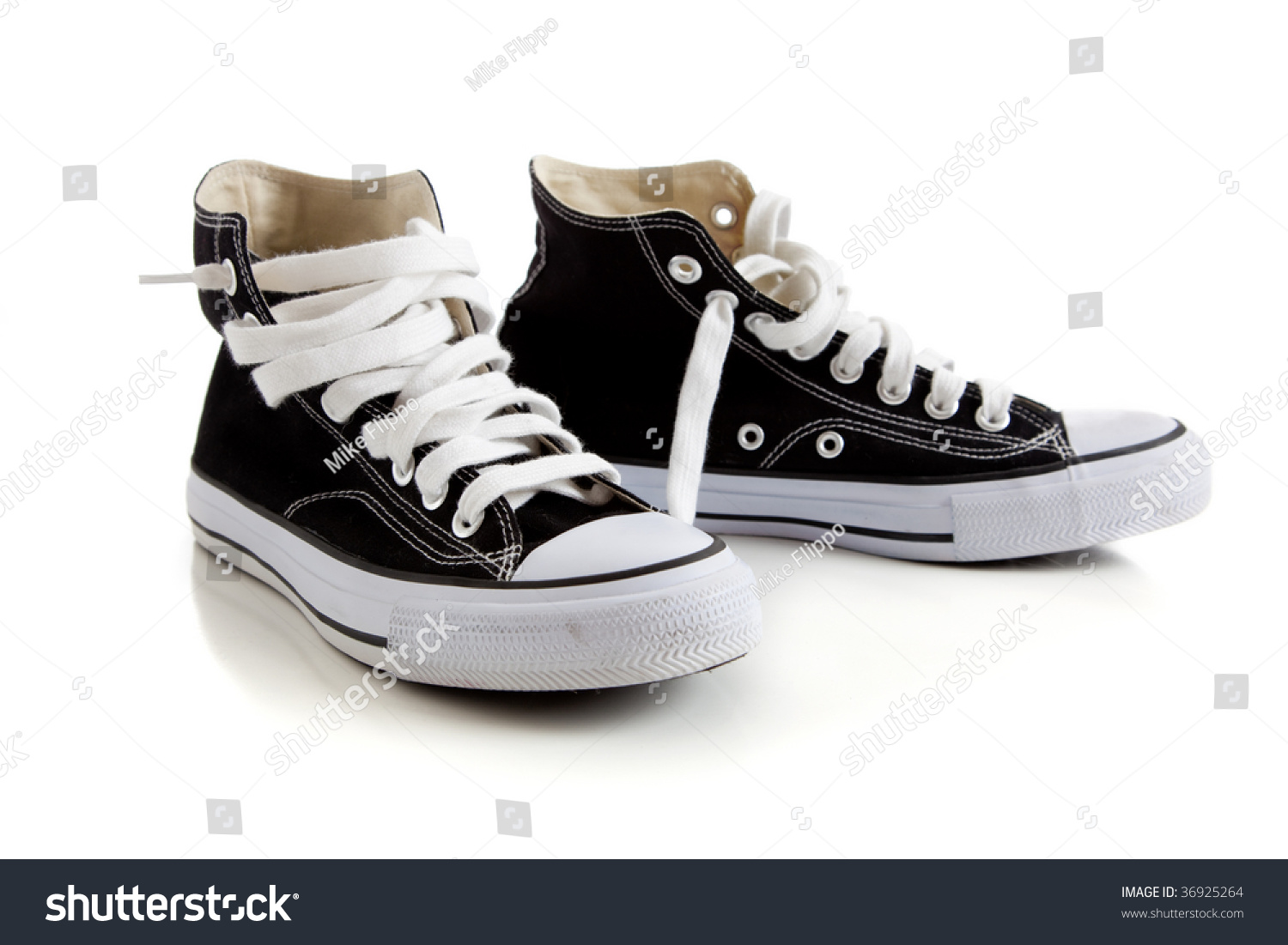 Black Canvas High Top Sneakers Tennis Stock Photo 36925264 ...
