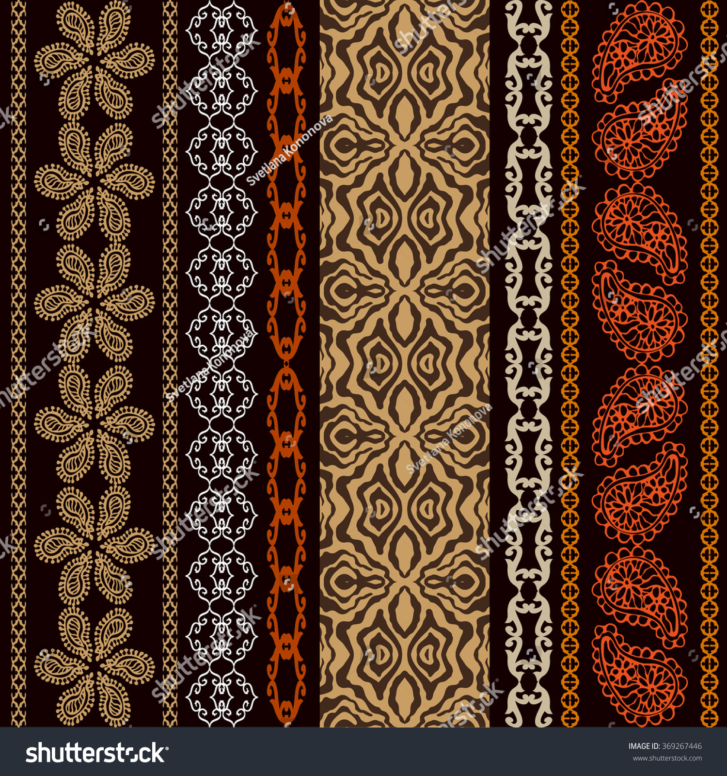 Boho style seamless wallpaper with fantasy ethnic motifs animal print and Art Deco elements Abstract geometrical vector pattern Safari collection Dark brown Backgrounds & textures shop