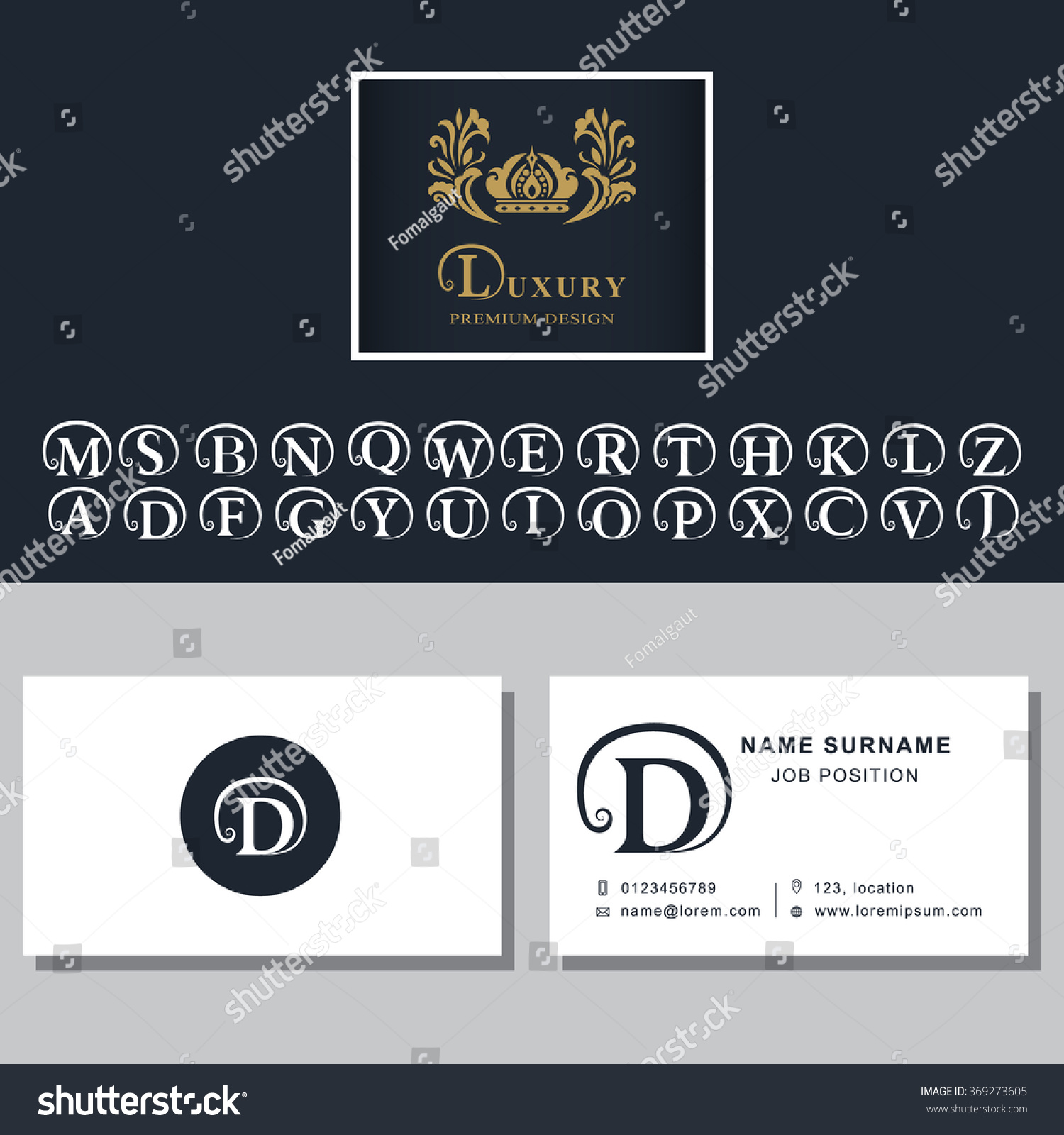 Business Card Template Letters Design Business Stock Vector HD ...