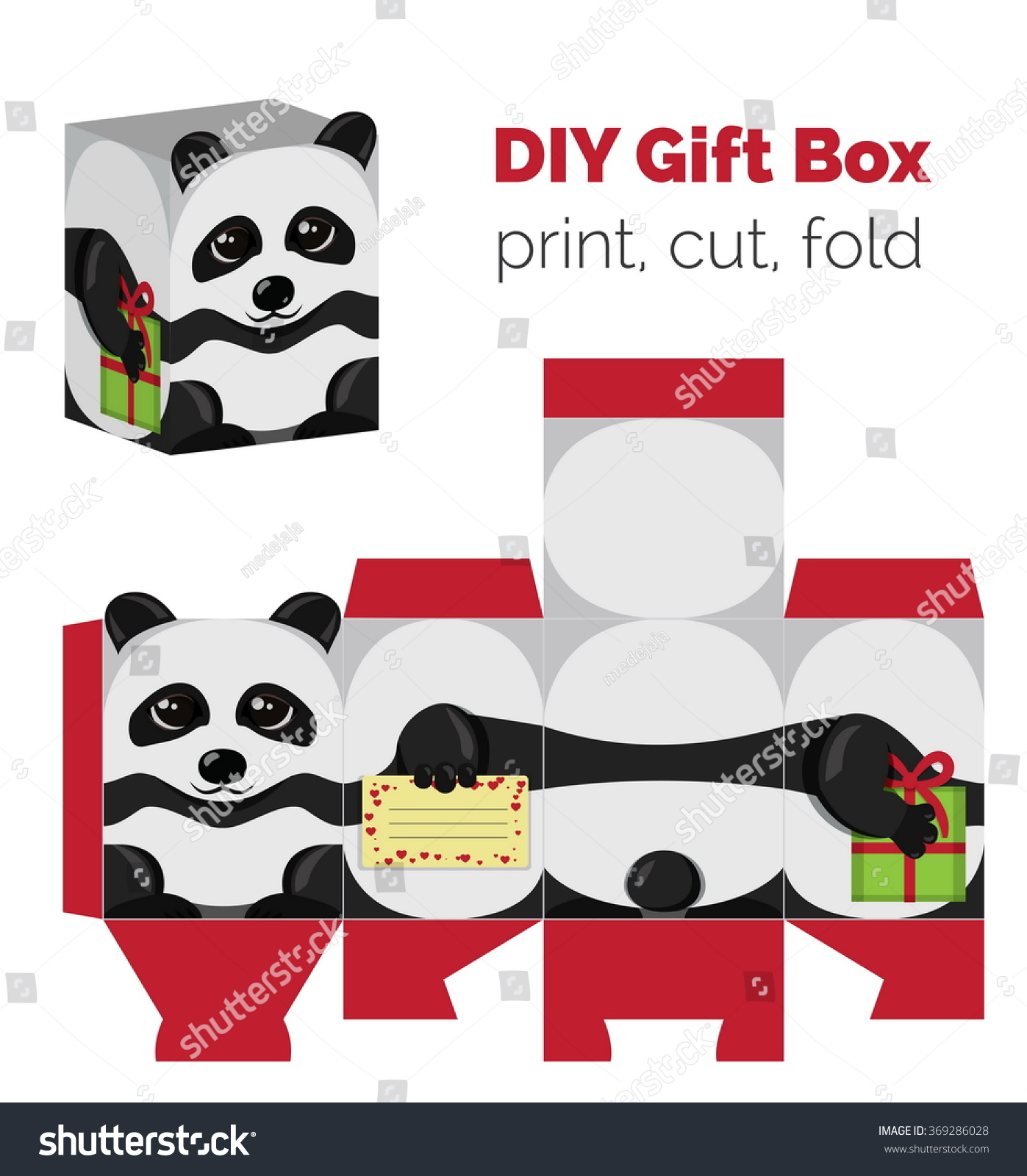 Adorable do yourself diy panda christmas vector de stock369286028 adorable do it yourself diy panda christmas gift box with ears for sweets candies solutioingenieria Choice Image