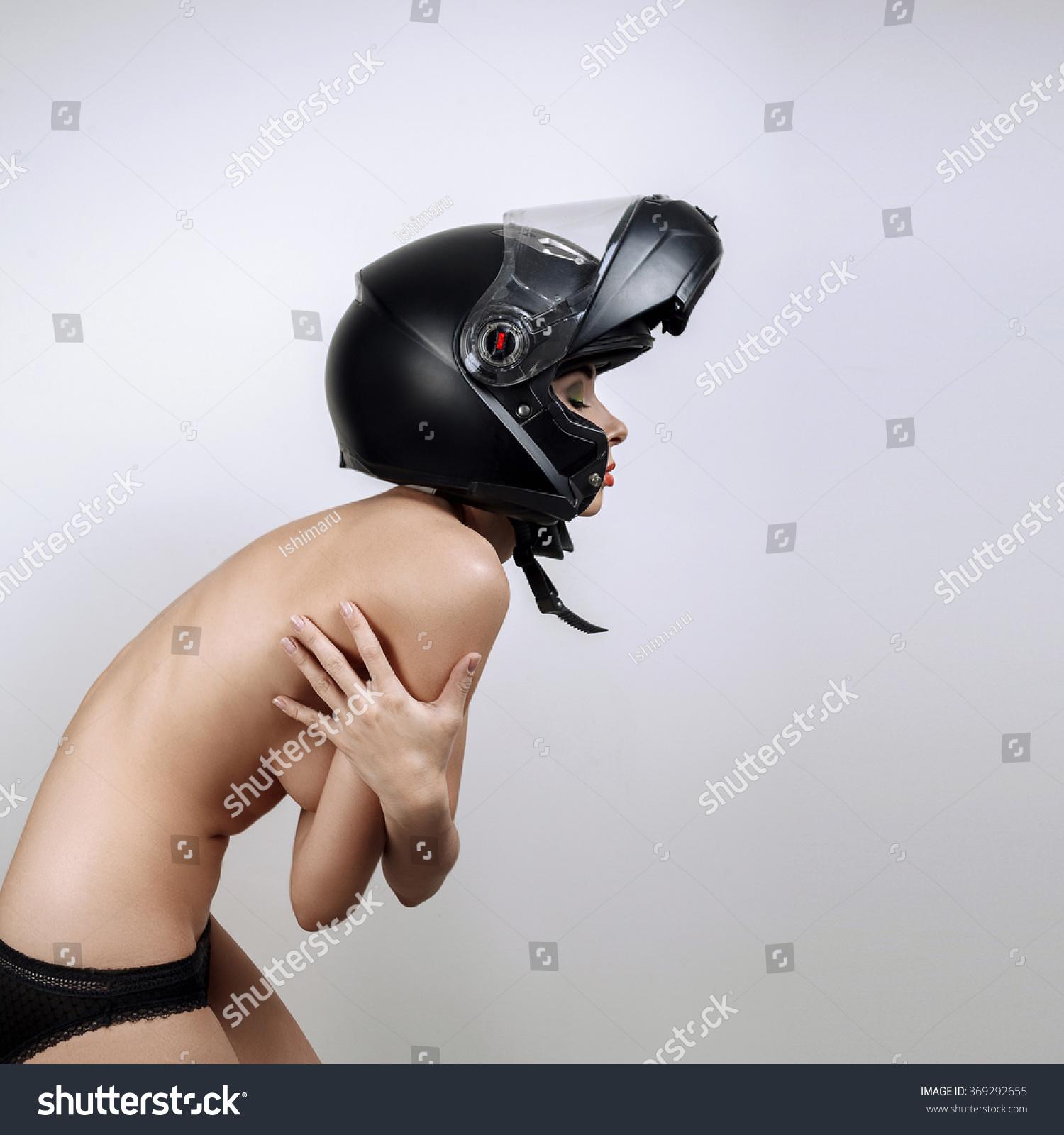Something Naked lady on motorcycle saddle