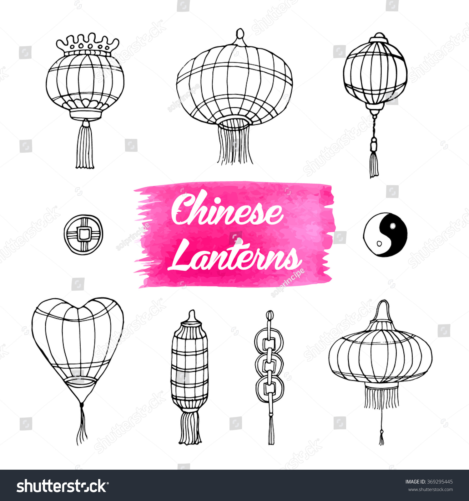 Hand drawn set chinese paper sky stock vector 369295445 shutterstock hand drawn set of chinese paper sky lantern and coins traditional lamps for chinese new buycottarizona Images