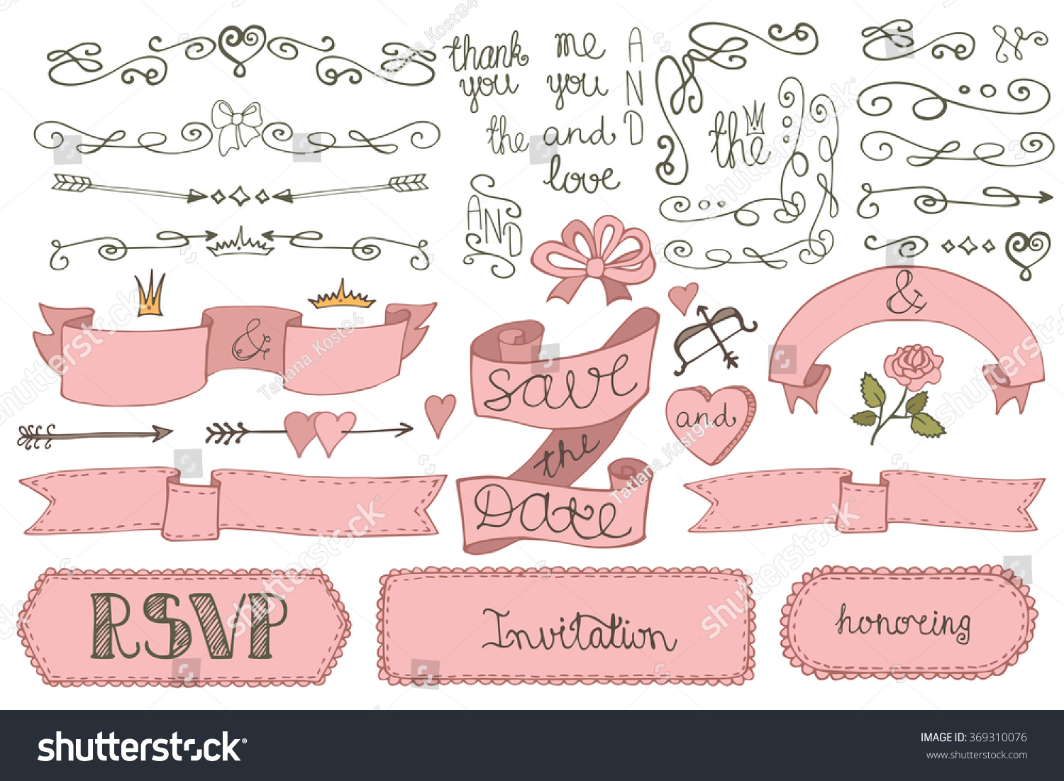 Wedding decoration setdoodles borderlove decor elements stock wedding decoration setodles borderlove decor elements setr design templates junglespirit Choice Image