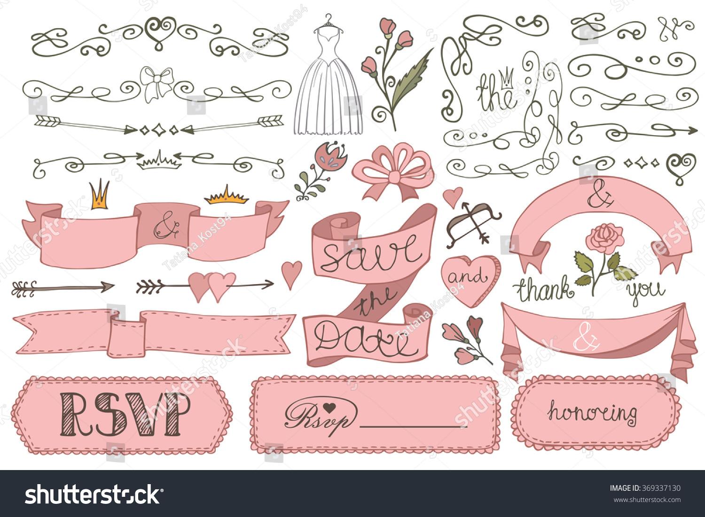 wedding decorations doodles swirl borderlove decor elements stock