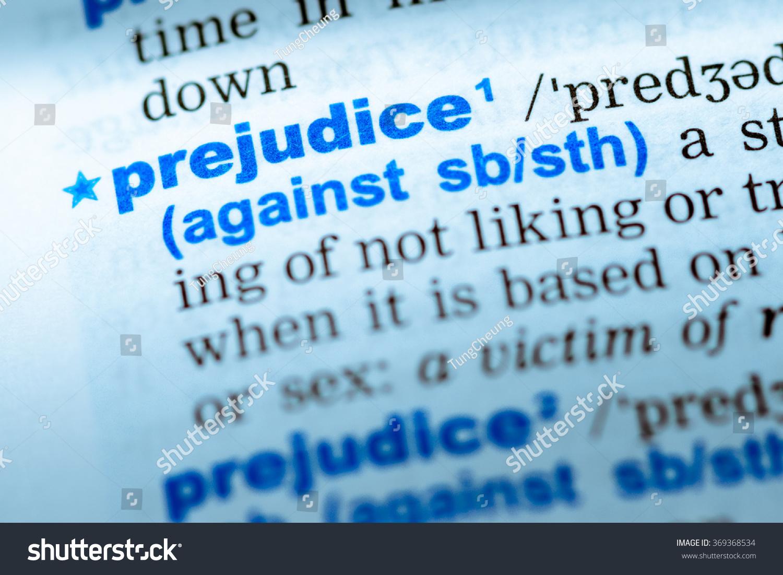 closeup word english dictionary prejudice definition stock photo