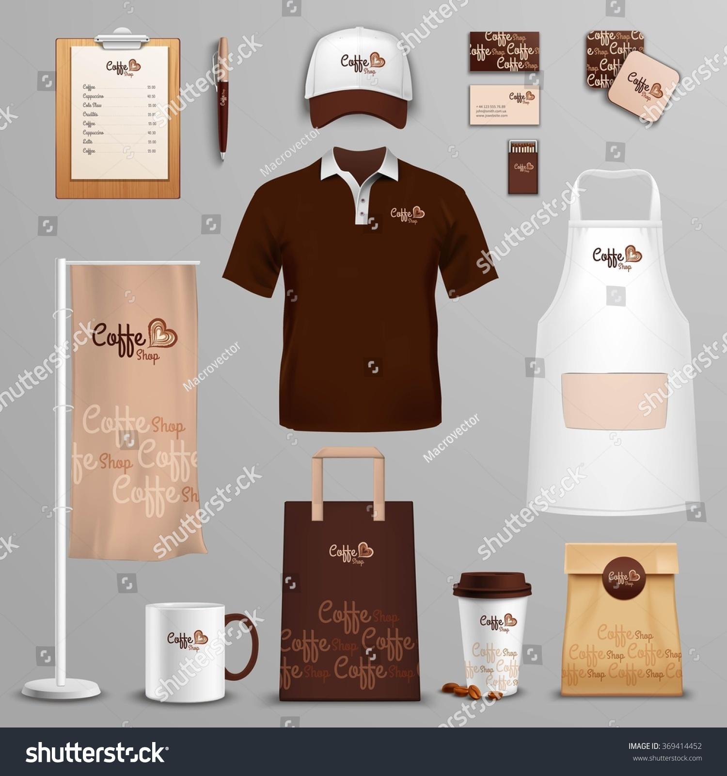 Restaurant Cafe Corporate Identity Icons Set Stock Illustration