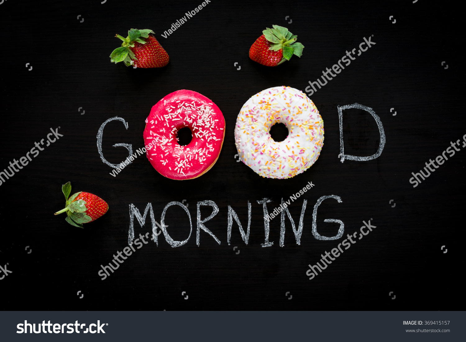 Donuts Strawberries Good Morning Greeting Written Stock Photo Edit