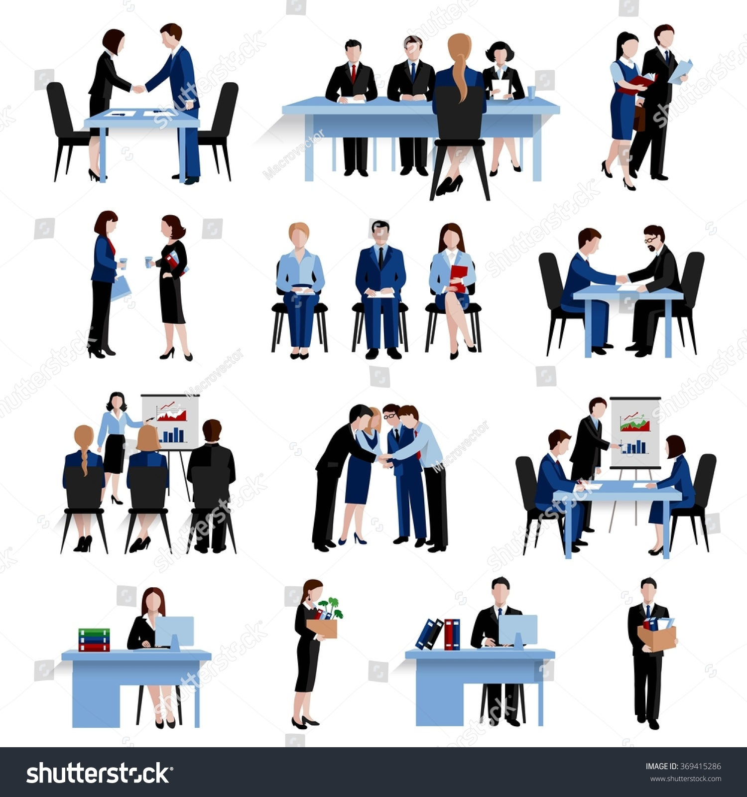 human resources concept flat icons set stock illustration