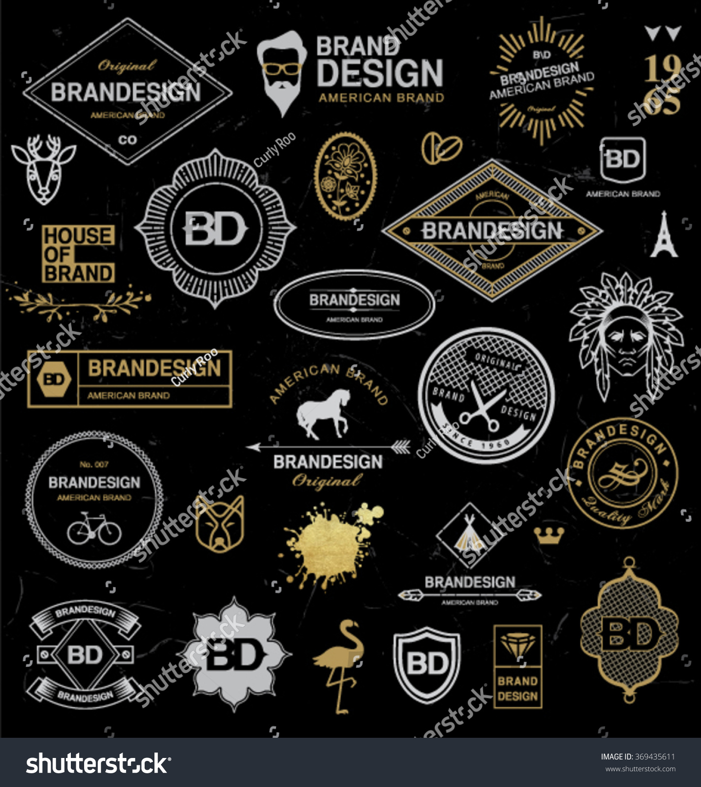 BRAND DESIGN ELEMENTS INDUSTRIAL STYLE Brand Stock Vector Royalty
