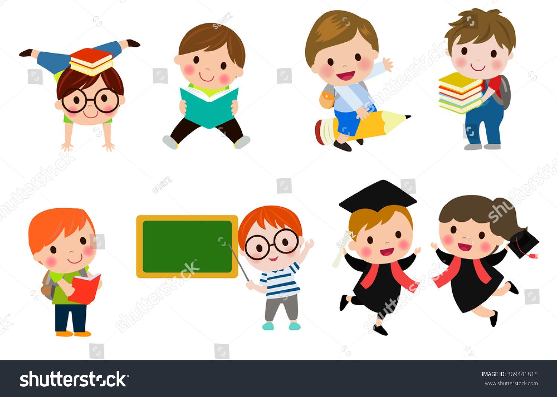 Kids Go School Back School Cute Stock Vector 369441815