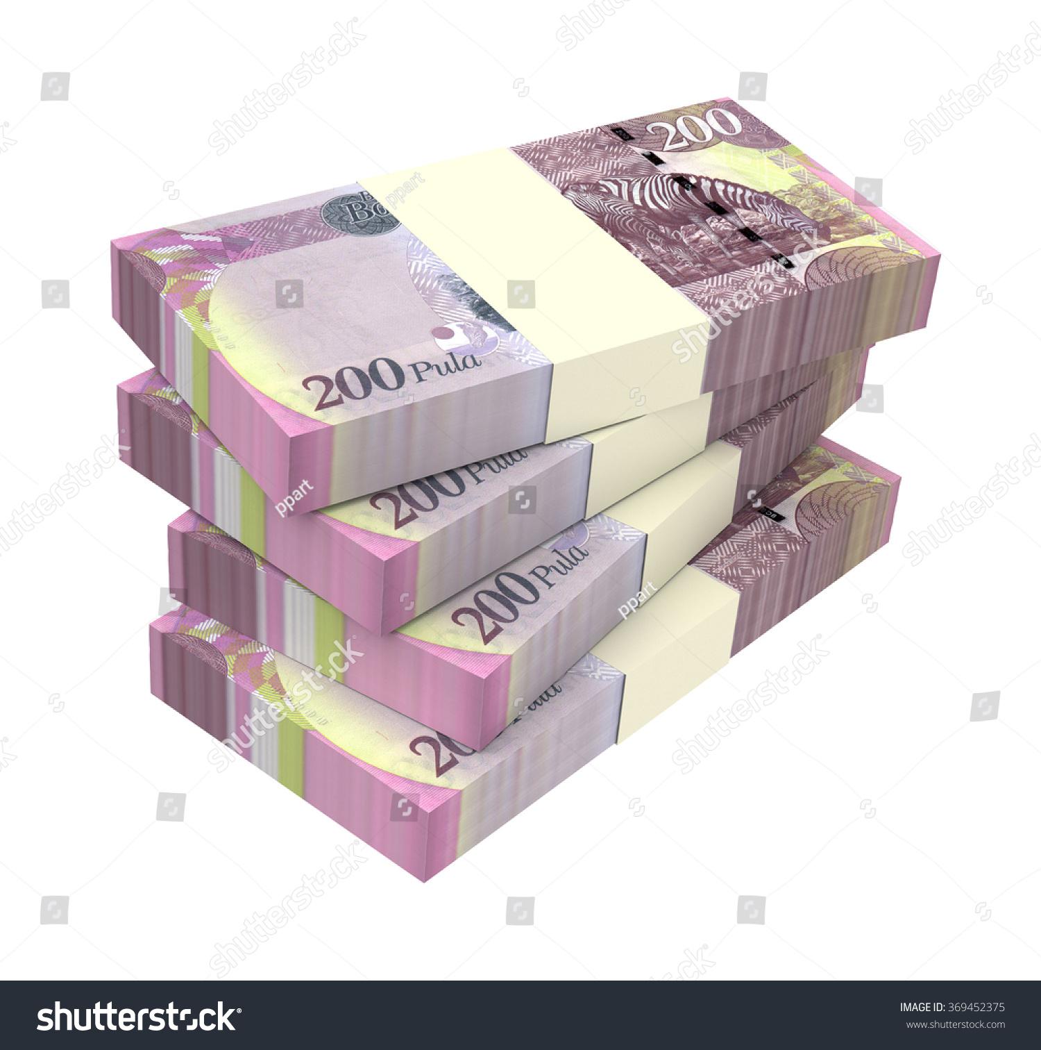 Botswana Pula Bills Isolated On White Stock Illustration 369452375