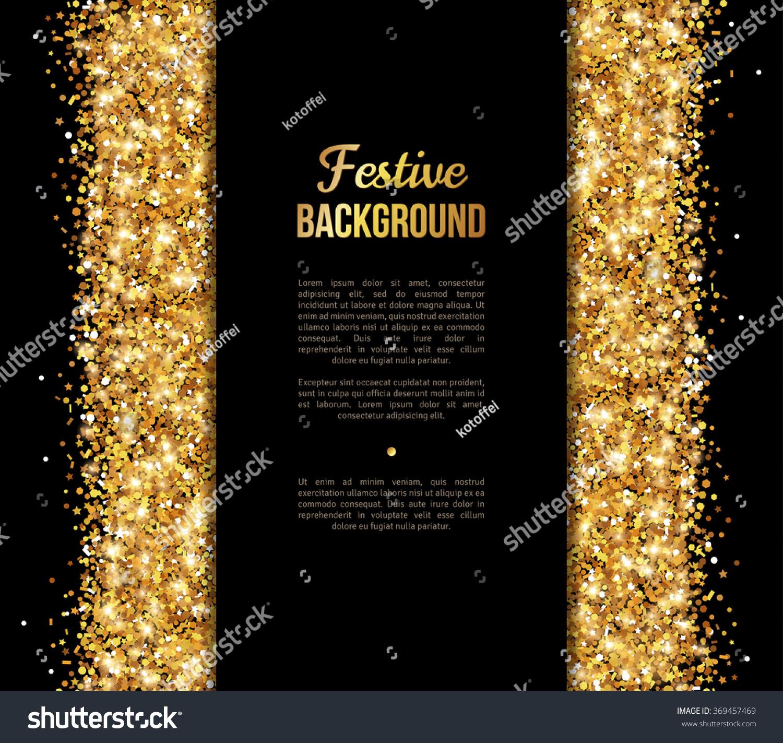 black and gold banner greeting card design golden dust vector illustration happy