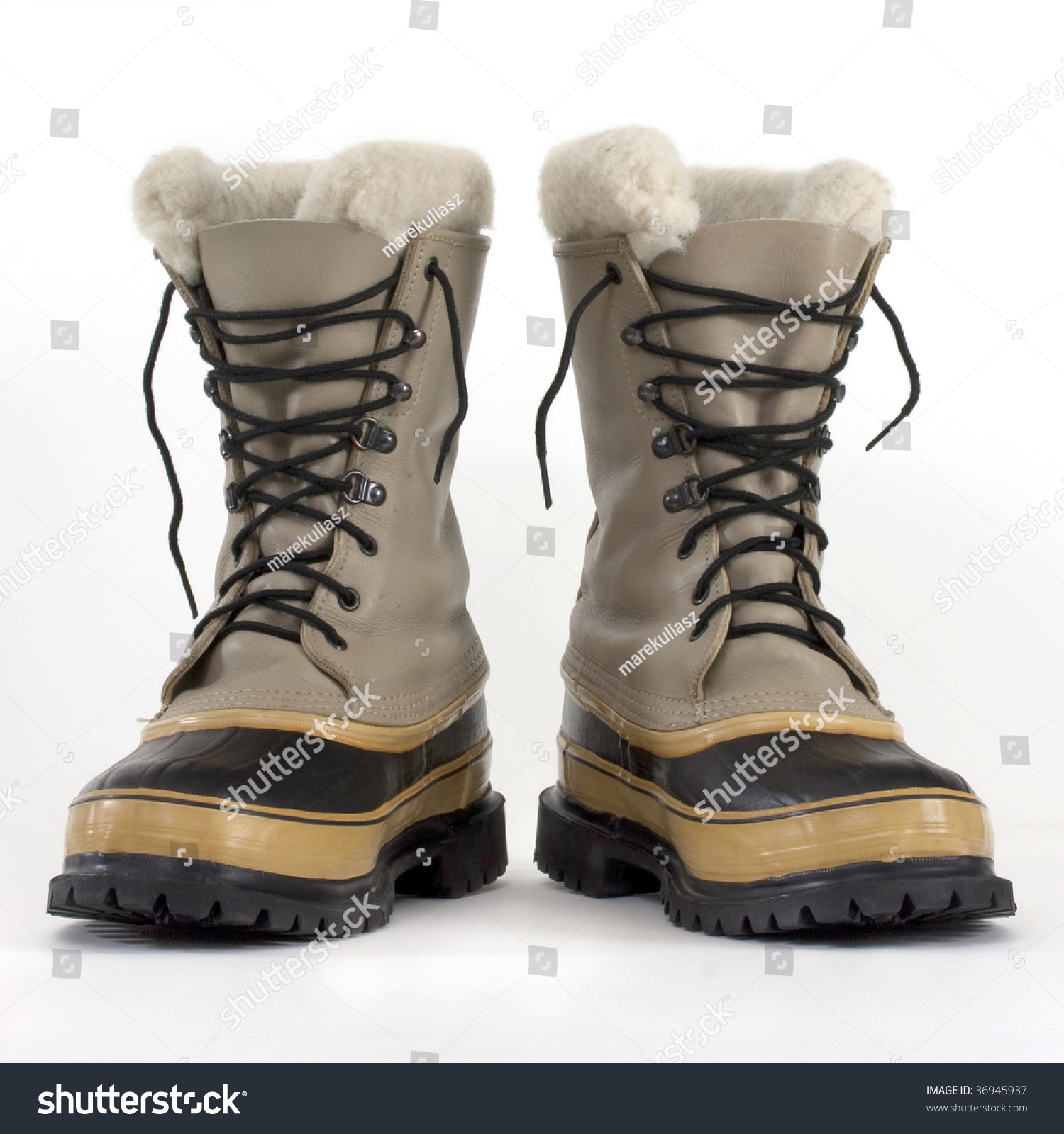 Pair Heavy Snow Boots On White Stock Photo 36945937 - Shutterstock