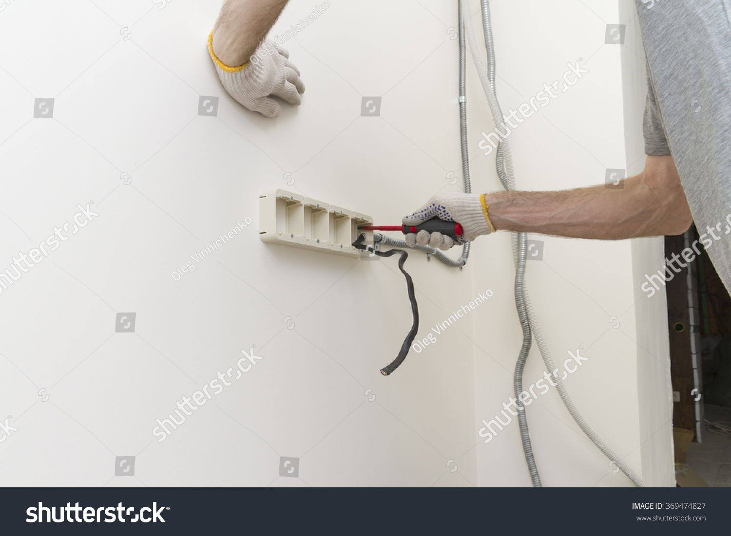 Start Installation Overhead Electrical Outlets Hands Stock Photo ...
