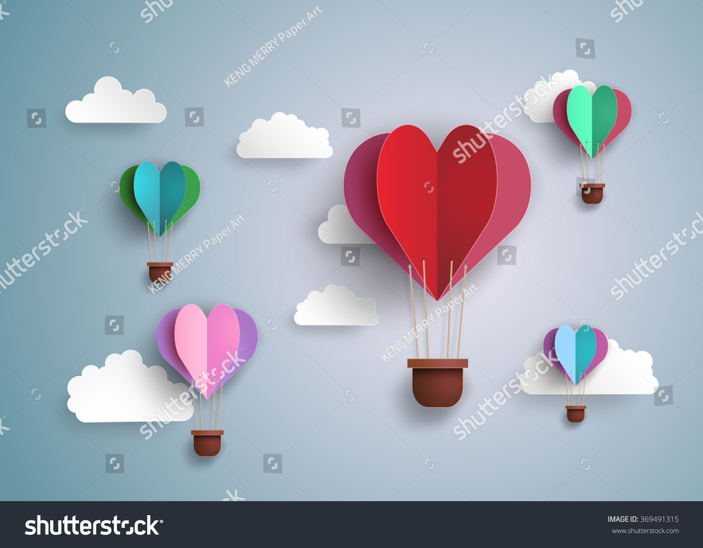 origami made hot air balloon in a heart shapepaper art
