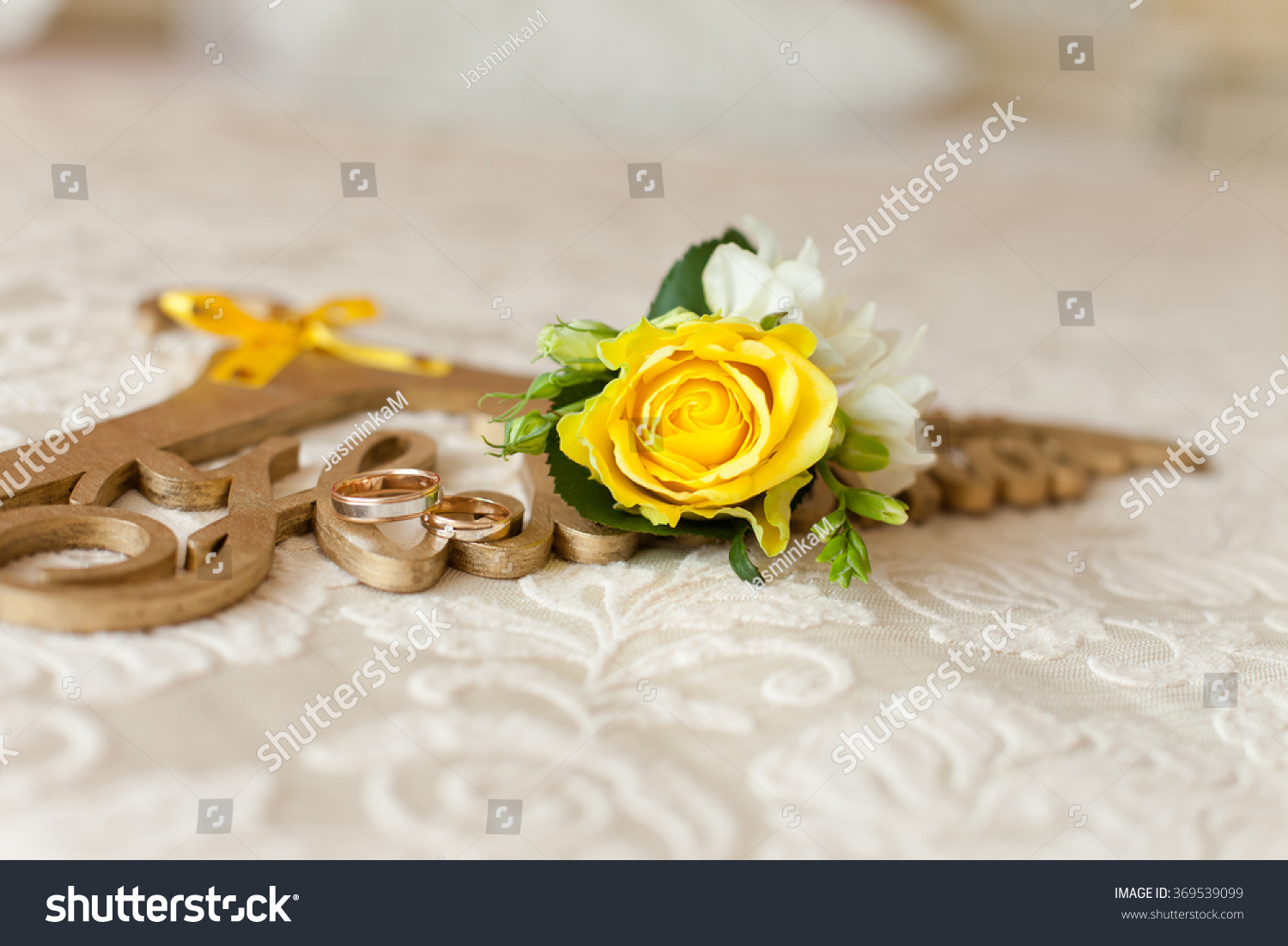 Royalty free yellow rose flower on golden hanger 369539099 stock yellow rose flower on golden hanger with inscription bride in russian language wedding mightylinksfo