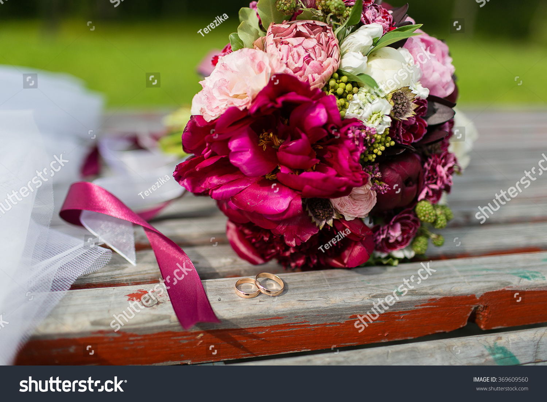 Beautiful wedding bouquet flowers on bench stock photo edit now beautiful wedding bouquet of flowers on a bench izmirmasajfo