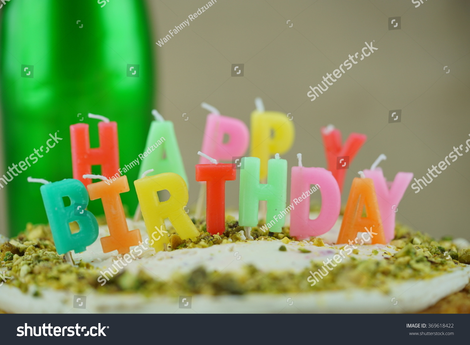 Candles Happy Birthday Letter On Pistachio Stock Photo Edit Now