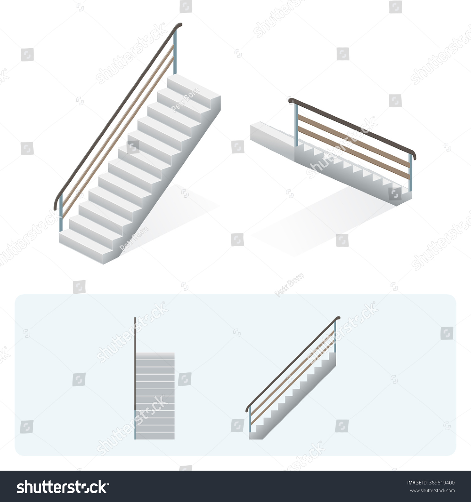 Isometric Stairs Face Profile Top View Stock Vector Royalty Free