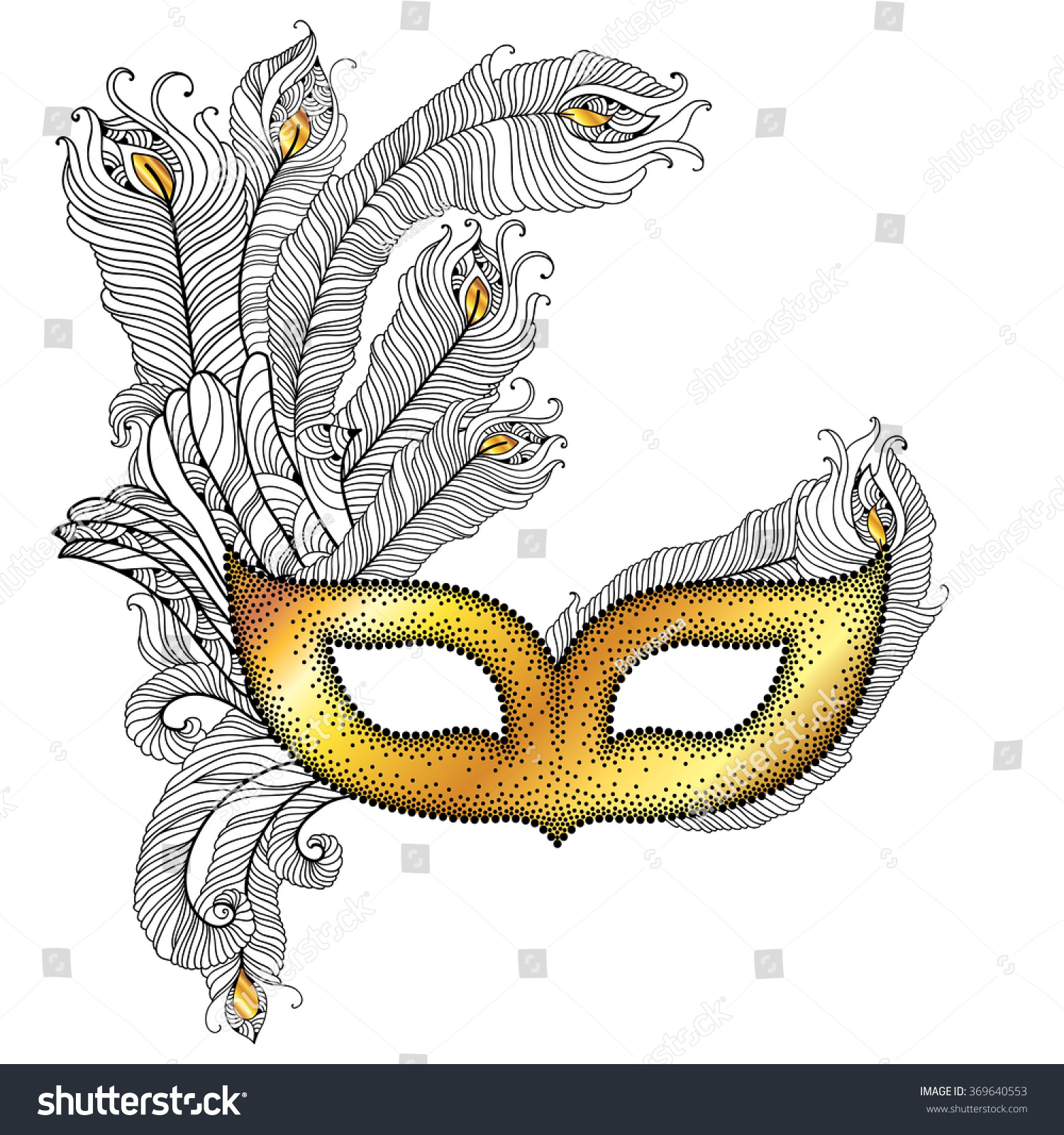 Dotted Venetian Carnival Mask Colombina With Outline Peacock Feathers In Black Isolated On White Background Traditional Attribute For Masquerade
