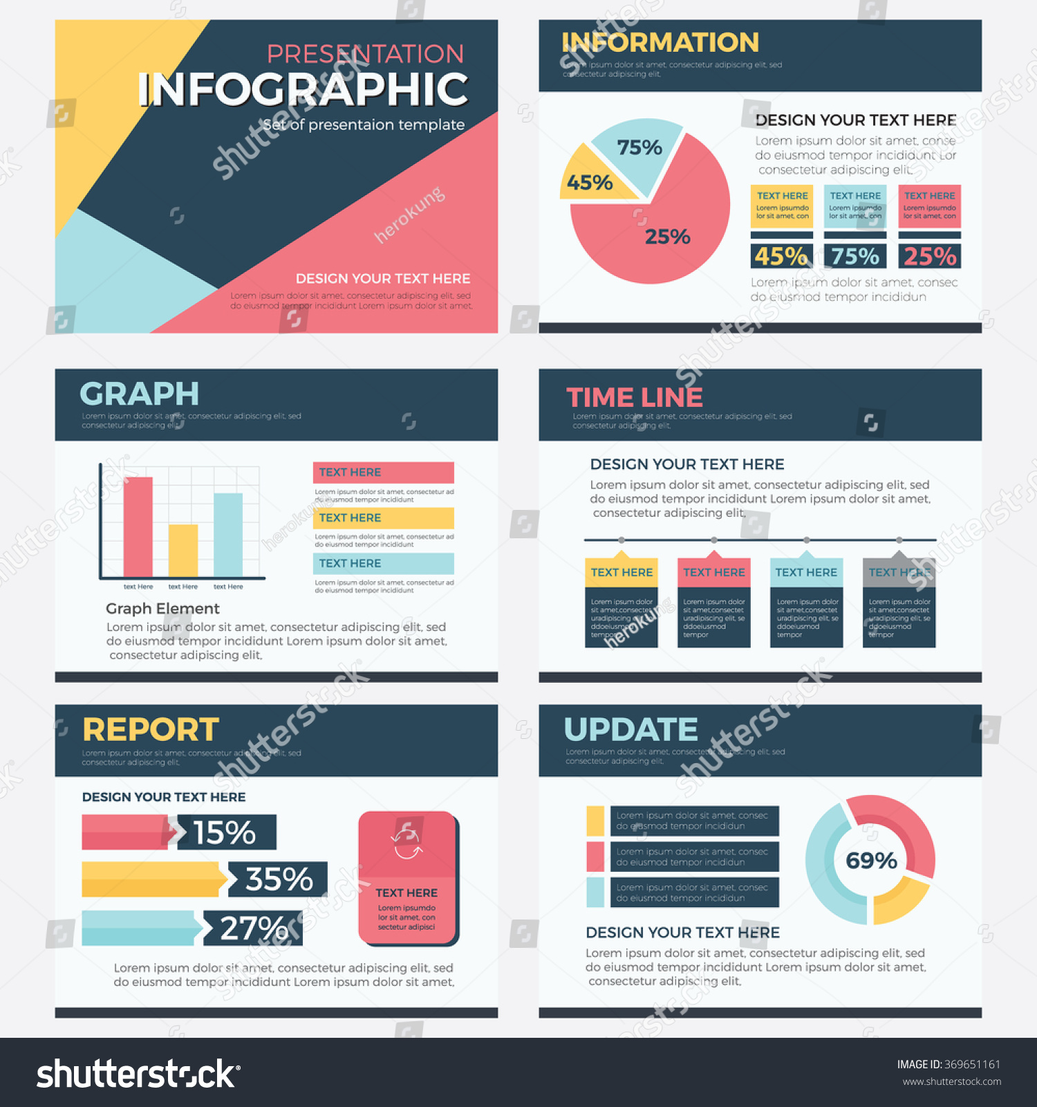 set infographic presentation template powerpoint business stock, Presentation templates