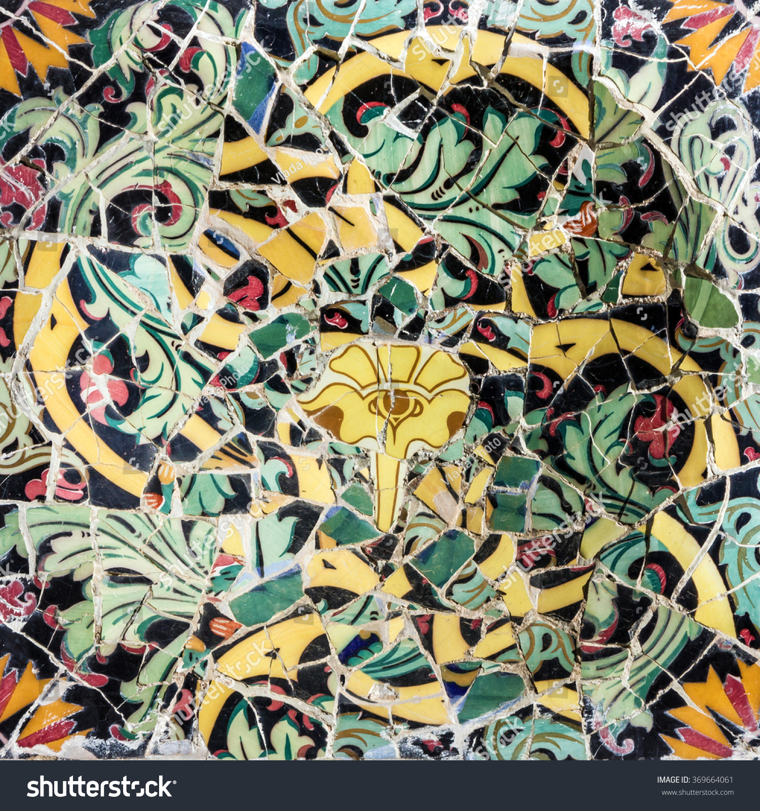 Mosaic Broken Glass Tile Decoration Park Stock Photo 369664061 ...