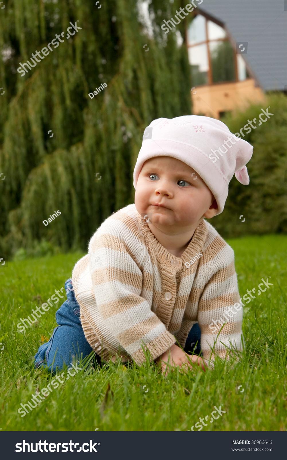 nice baby girl green meadow stock photo (edit now) 36966646