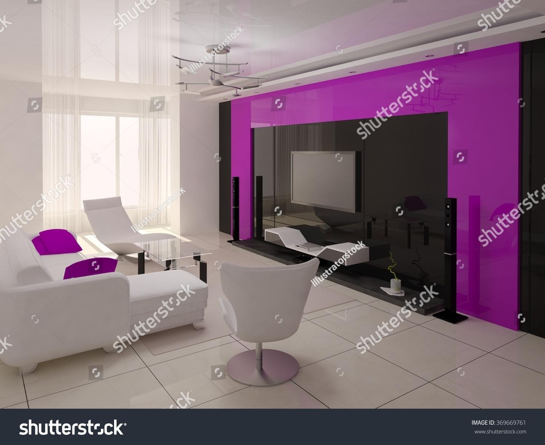 Comfortable Modern Living Room Bright Furniture Stock Illustration 369669761 Shutterstock
