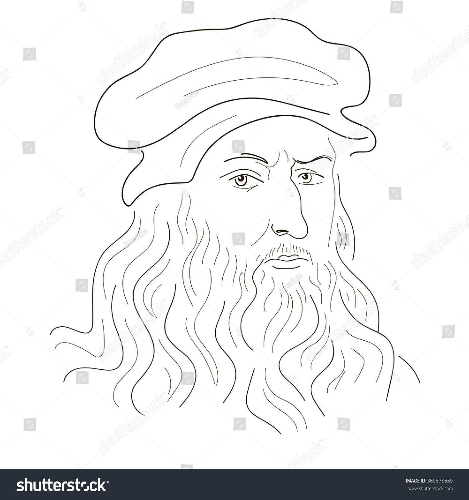 Leonardo Da Vinci. Sketch Illustration. Black And White ...