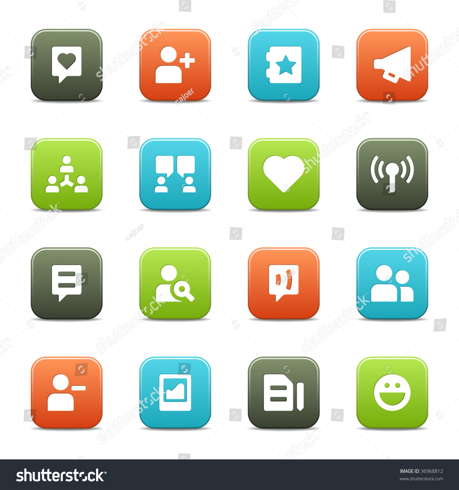 16 Icons Suitable Communities Social Network Stock Vector Royalty