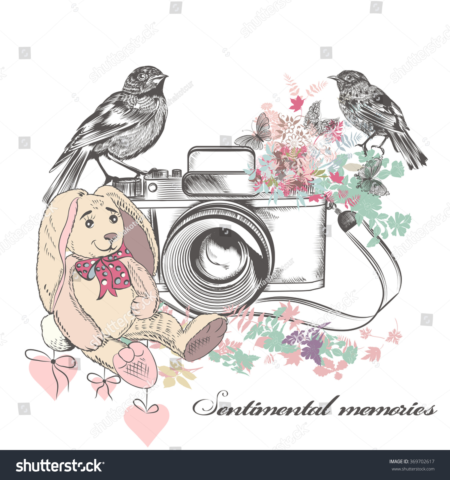 Beautiful Romantic Card With Old Camera Birds Flowers And Toy Rabbit In Vintage Rustic Style