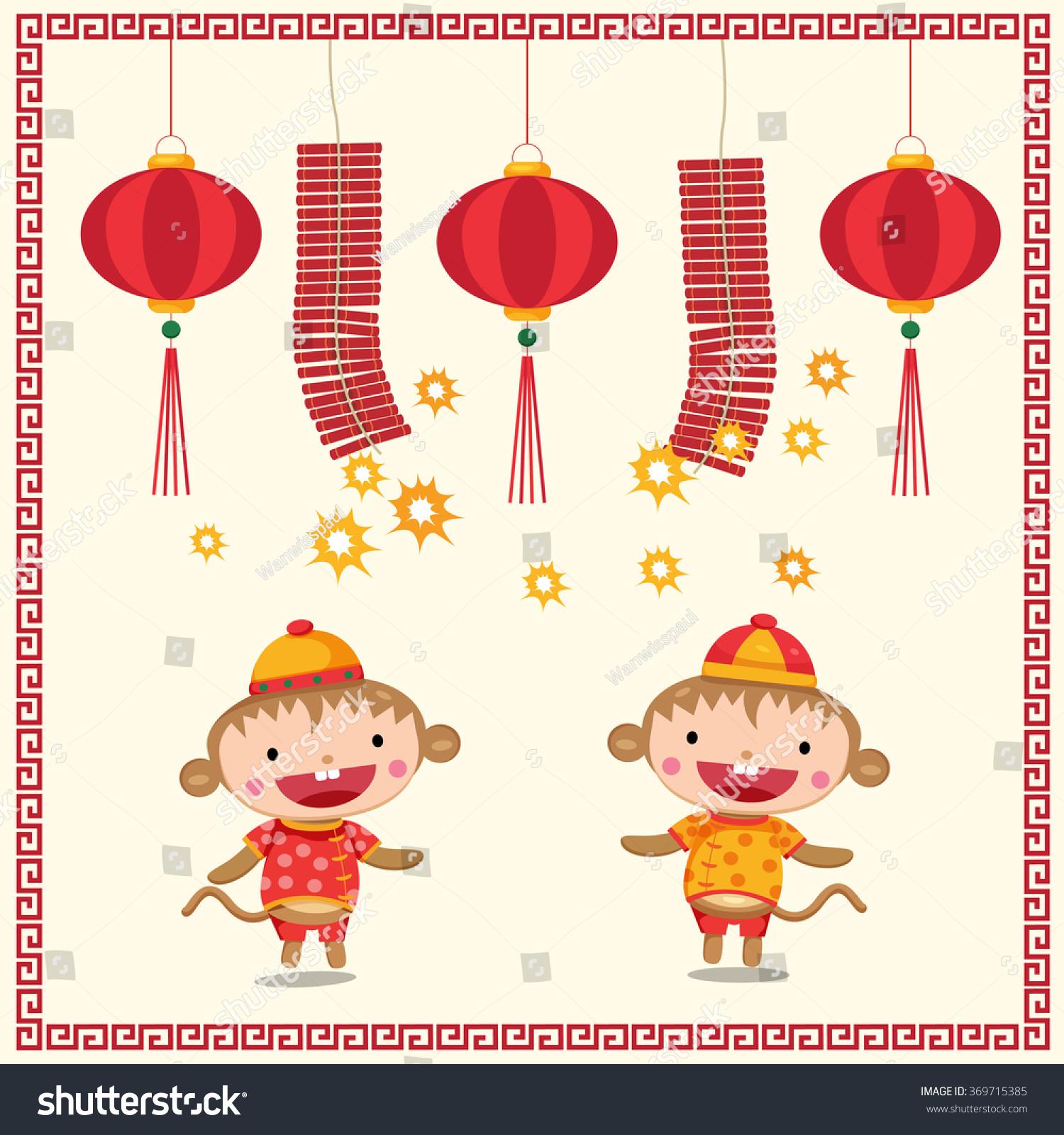 Chinese New Year Monkeys Lanterns Firecrackers Stock Vector 2018