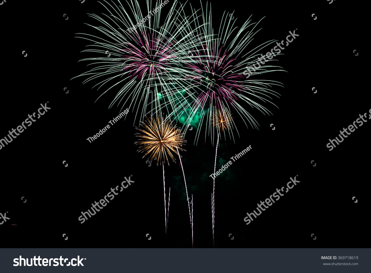 Pastel Blue, Green And Pink Fireworks Display. Stock Photo ...