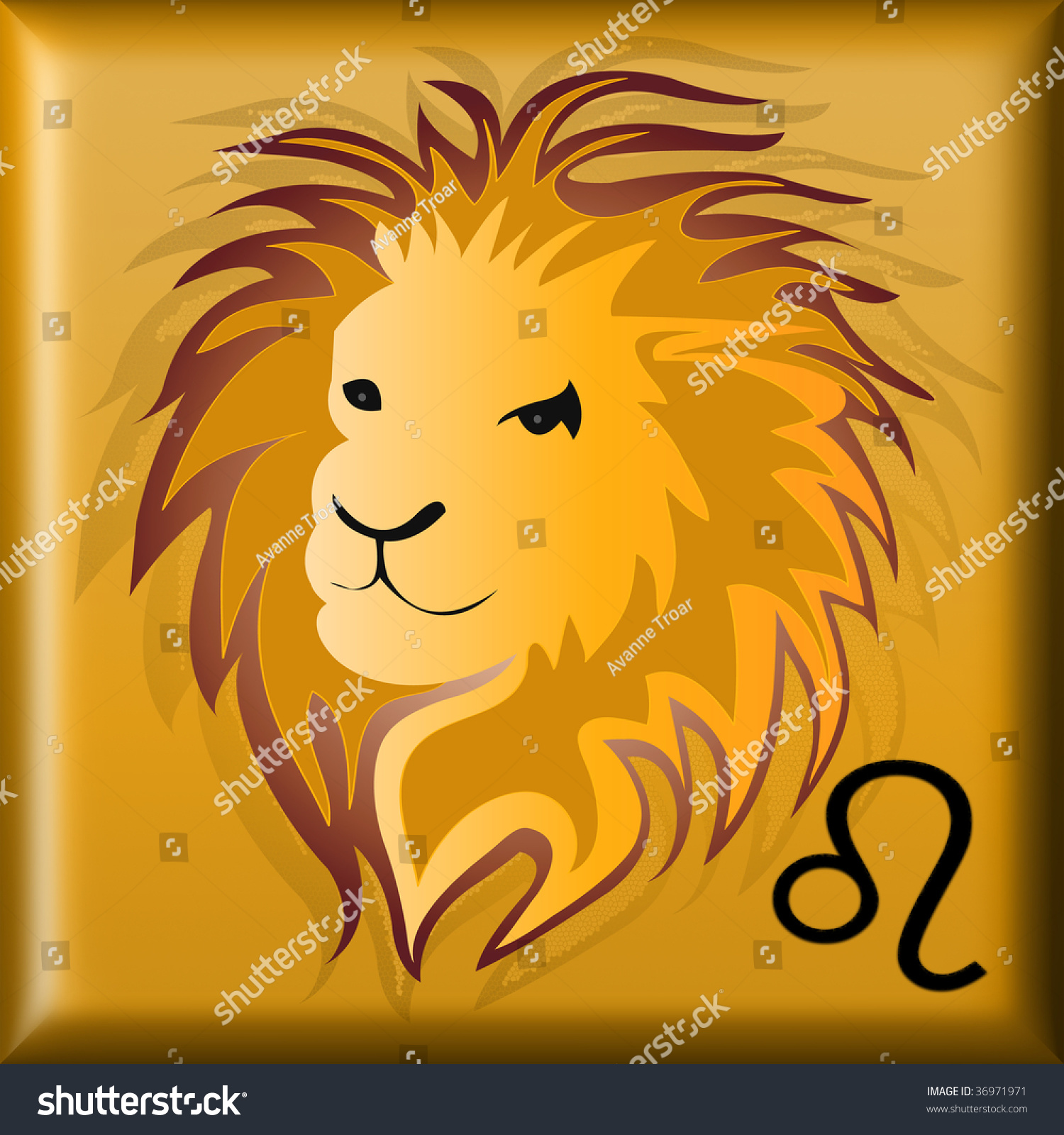 Golden button illustration head lion astrological stock golden button with illustration of a head of a lion astrological symbol for leo biocorpaavc
