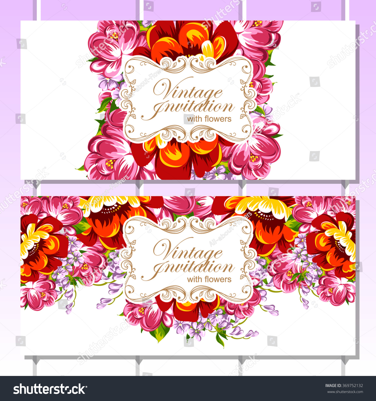 Vintage Delicate Invitation Flowers Wedding Marriage Stock Vector ...